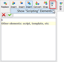 The 'Toggle the visibility of elements belonging to certain categories' button of the Edit tool