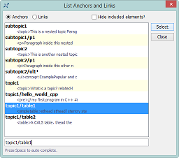 """List Anchors and Links"" dialog box"