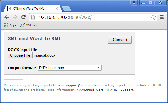 Using the servlet to convert DOCX files