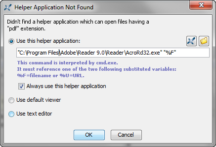 "The ""Helper Application Not Found"" dialog box"