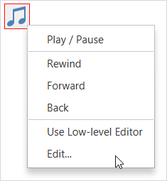 The right-click popup menu of a media player (audio only, no controls)