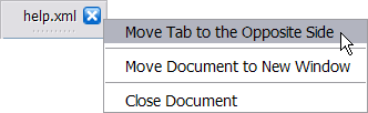 Tab corresponding to the active document